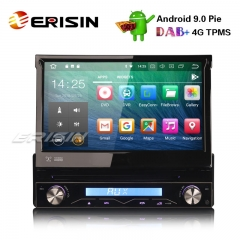 Erisin ES4808U 1 DIN Destacável DAB + Android 9.0 DVD Estéreo Do Carro GPS Wi-fi TPMS DVR DTV BT OBD2 4G