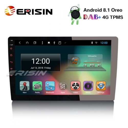 "Erisin ES8210U 10.1"" Double Din Android 8.1 Car Stereo DAB+ GPS WiFi DTV TPMS BT Sat Nav OBD 4G"
