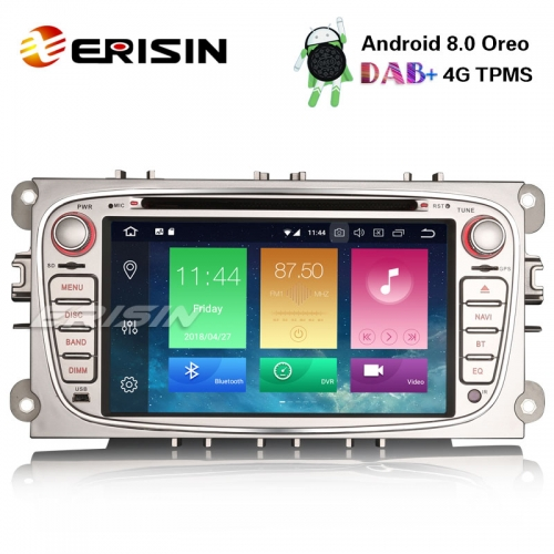 "Erisin ES7409FS 7"" 8-Core Android 8.0 Car Stereo DAB+ GPS Ford Mondeo Focus S/C-Max Galaxy Radio 4G"