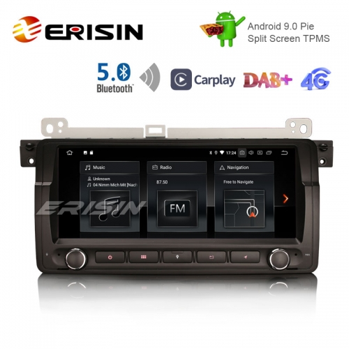 "Erisin ES1889B 8.8 ""Android 9.0 Pie OS Carro TPMS 4G GPS DAB + BT5.0 Carplay para E46"