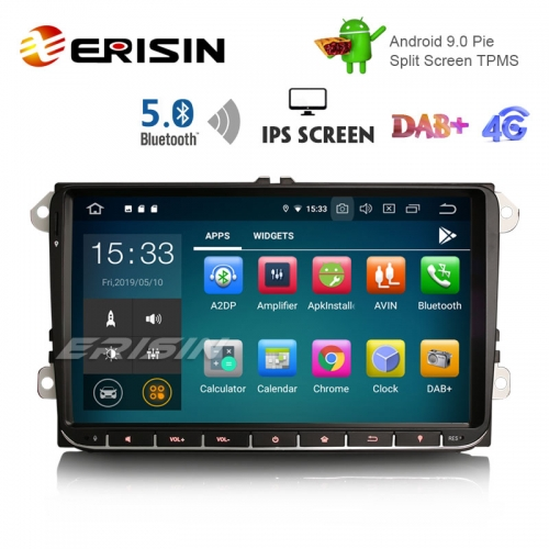 "Erisin ES8028V 9"" DAB + Android 9.0 Car GPS IPS BT5.0 para VW Passat Golf 5/6 Polo Tiguan Eos Caddy Seat"