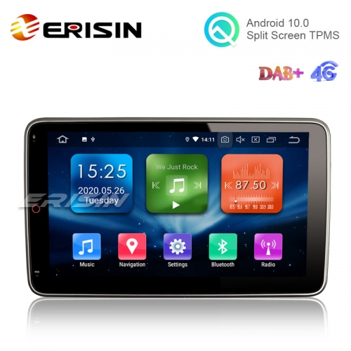 "Erisin ES5103U 10.1"" 2.5D G+G IPS 2 Din Android 10.0 Car Stereo PX30 DAB+ CarPlay+ TPMS GPS SatNav"
