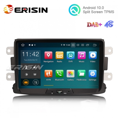 "Erisin ES5129D 8"" Android 10.0 Car Stereo for Renault Dacia Duster Multimedia with GPS Radio WiFi BT TPMS DAB+ CarPlay+"
